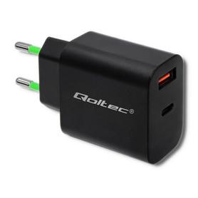 Qoltec Ładowarka sieciowa | 18W | 5-12V | 1.5-3A | USB typ C PD | USB QC 3.0 | Czarna