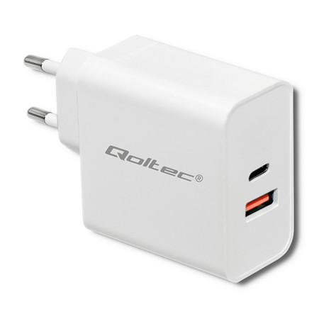 Qoltec Ładowarka sieciowa 63W   5-20V   1.5-3A   USB typ C PD   USB QC 3.0   Biała (1)
