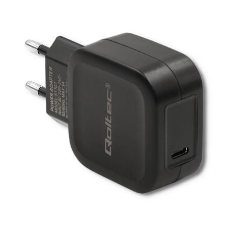 Qoltec Ładowarka sieciowa | 20W | 5-12V | 1.67-3A | USB typ C | PD | Czarna (1)